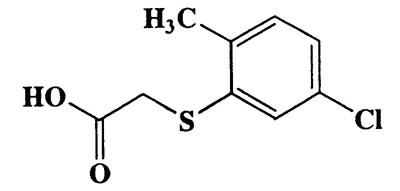 2-Methyl-5-chlorophenylmercaptoacetic acid,Acetic acid, [(5-chloro-2-methylphenyl)thio]-,CAS 6375-74-2,216.68,C9H9ClO2S
