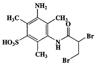 3-Amino-5-(2,3-dibromopropanamido)-2,4,6-trimethylbenzenesulfonic acid,444.14,C12H16Br2N2O4S