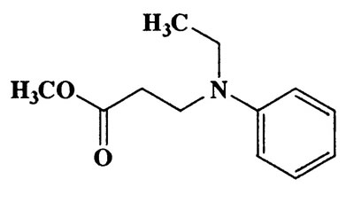 Methyl 3-(ethyl(phenyl)amino)propanoate,β-Alanine,N-ethyl-N-phenyl-,methyl ester,CAS 21608-06-0,207.27,C12H17NO2