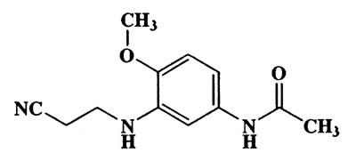 N-(3-(2-cyanoethylamino)-4--methoxyphenyl)acetamide,Acetamide,N-[3-[(2-cyanoethyl)amino]-4-methoxyphenyl]-,CAS 26408-28-6,233.27,C12H15N3O2